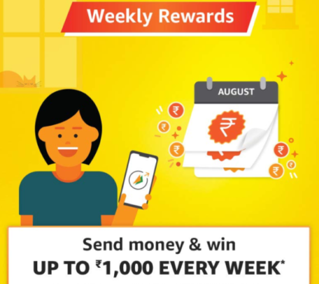 Read more about the article (Back Again)Amazon Send Money offer: Get Upto Rs.1000 Cashback Every Week
