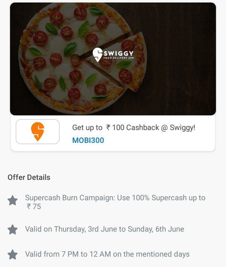 Swiggy Food Offer – Use 100% Mobikwik Supercash On Your Order